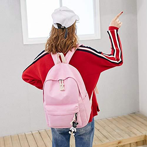 École Lady Sac Féminine D'Hiver Teenage Dos College Sac Sacs À Couleur Toile Solide Cartable Student À École À Dos VHVCX Bandoulière Mode Girl Pink EYqw5X