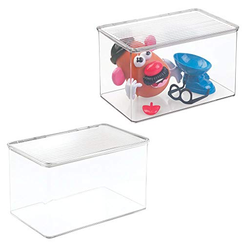 (mDesign Kids Small Plastic Stacking Toy Storage Organizer Box Container with Hinged Lid for Storing Action Figures, Crayons, Building Blocks, Puzzles, Wood Construction Sets, Cars, 2 Pack - Clear)