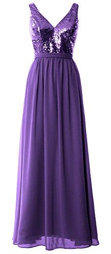 2018 Sequin Macloth Gown Straps Women Prom Neck V Bridesmaid Maxi Simple Dress Purple wIa8qax