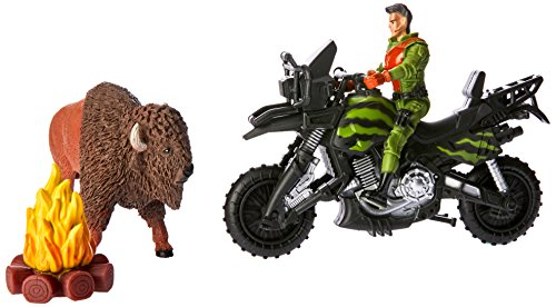 Wild Republic Adventure Playset Bison, Motorcycle, Fire, Toy Man, Gifts for (Motorcycle Figurine Collection)
