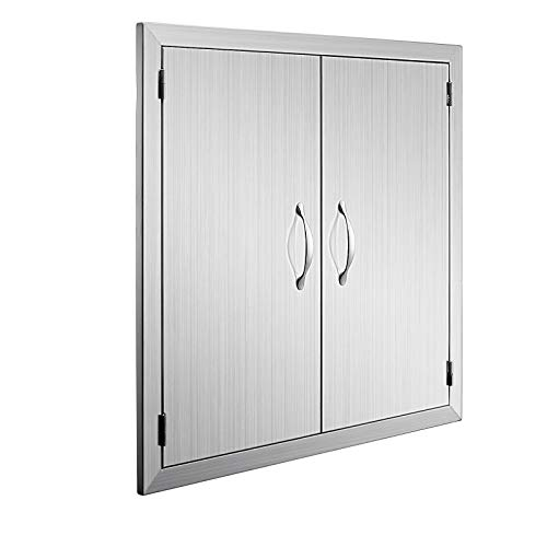 Happybuy BBQ Access Door Double Wall Construction 24W x 24H in. BBQ Island/Outdoor Kitchen Access Doors 304 Grade Brushed Stainless Steel Heavy Duty