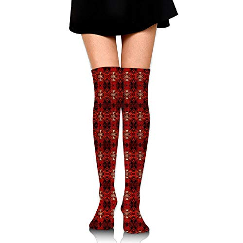 HFJDLSK Knee Long Socks Tube Thigh-High Sock Stockings - Crimson Tribal Batik Fabric (4316) Print for Girls & Womens