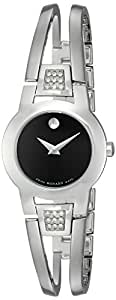 Movado Women's 604982 Amorosa Diamond-Accented Stainless Steel Bangle Watch