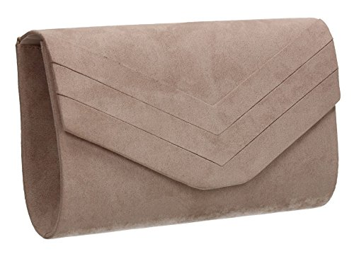 Samantha Faux Leather Suede Womens Party Prom Wedding Ladies Clutch Bag - Nude