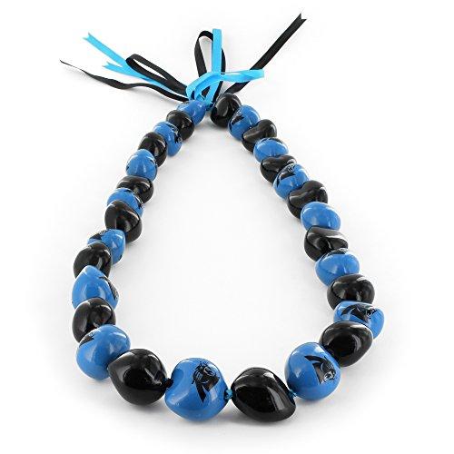 aminco NFL Carolina Panthers Kukui Nut Necklace, Black/Blue