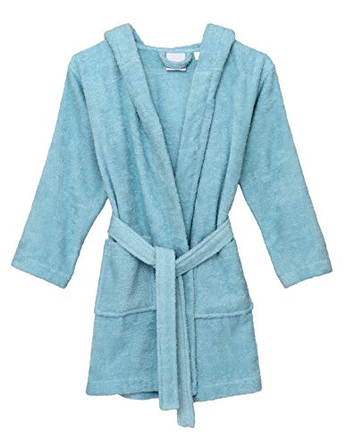 TowelSelections Big Girls' Robe, Kids Hooded Cotton Terry Bathrobe Cover-up Size 12 Blue Glow
