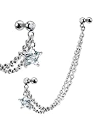 BodyJ4You Chain Earring CZ Stone with Star Dangle, Steel Ear Chains with Star Dangle Crystal Steel Cartilage Earring