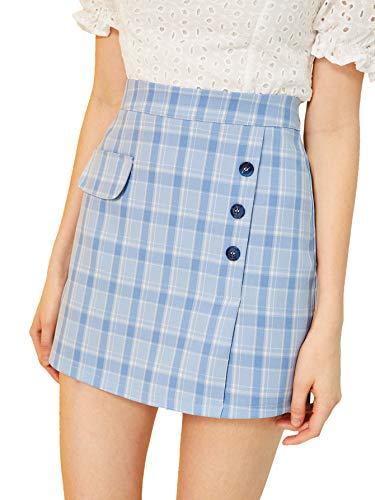 WDIRARA Women's Fashion Plaid High Waist Button Zipper Mini Pencil Skirt S Blue