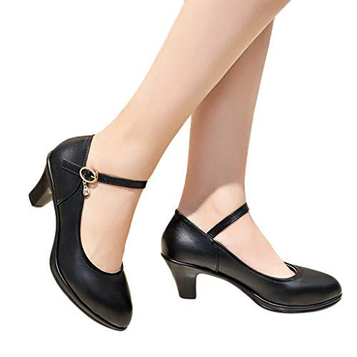2019 Women's Classic Wedge Low Heels Dress Shoes,Casual Leather Heels Pump Shoes for Party Work Business (Black(2.36''), US:7.5)