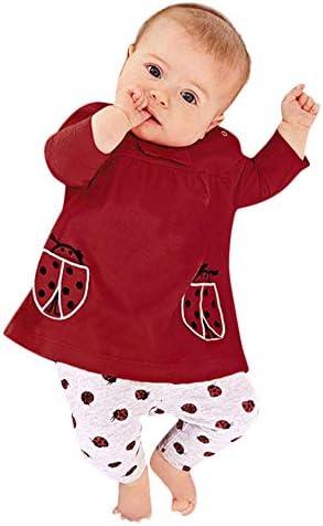 Pantalones 2PC//Conjuntos de Patr/ón de Escarabajo BBSMILN Ropa Bebe Ni/ña Oto/ño Invierno 0 a 3 6 12 18 24 Meses de Reci/én Nacido Camiseta