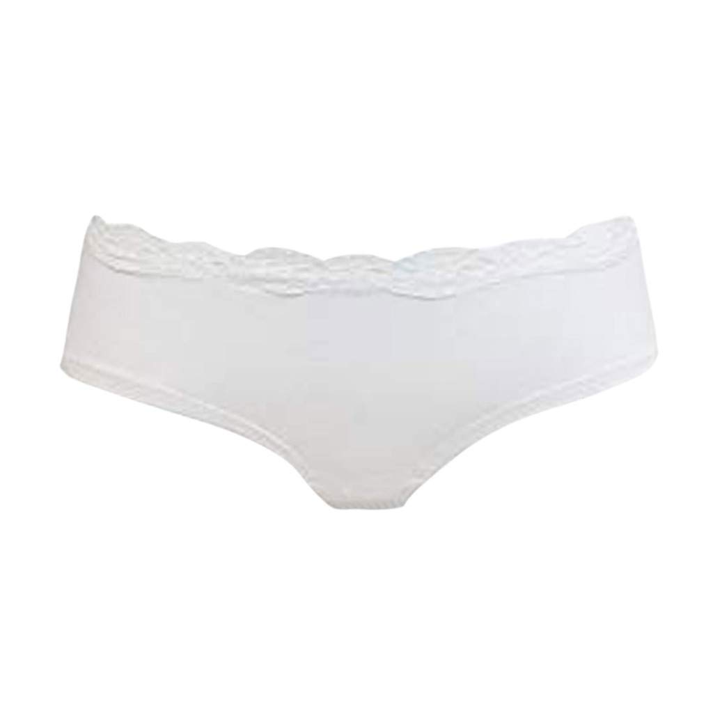 Lethez Womens Lace Underwear Hipster Panties Low-Rise Briefs Pants Knickers Underpants (XL, White)