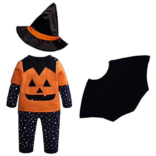 zoylink 4PCS Baby Halloween Costume Set Cute Pumpkin Cosplay Party Costume Baby Costume]()