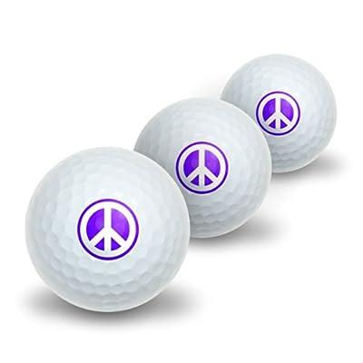 Peace Sign Symbol - Purple Novelty Golf Balls 3 Pack