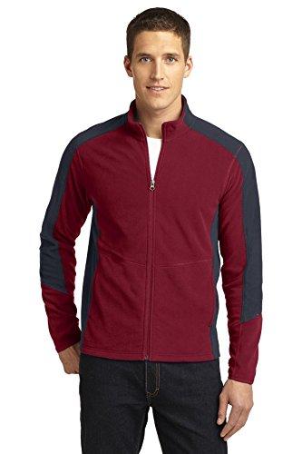 Port Authority Men's Colorblock Microfleece Jacket XS Garnet/ Battleship Grey