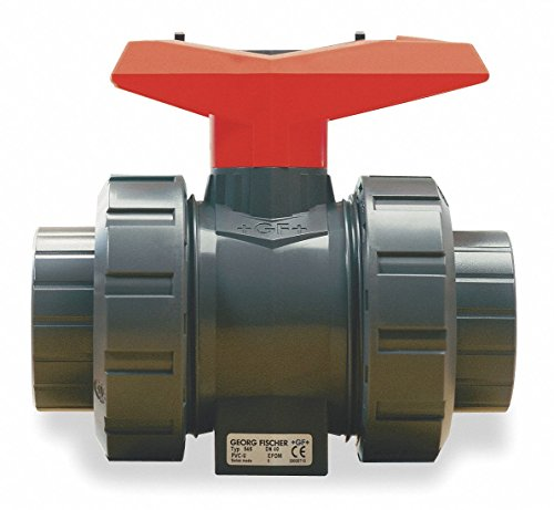 GF Piping Systems PVC True Union Ball Valve, Two Piece, PTFE Seat, EPDM Seal, 1/2