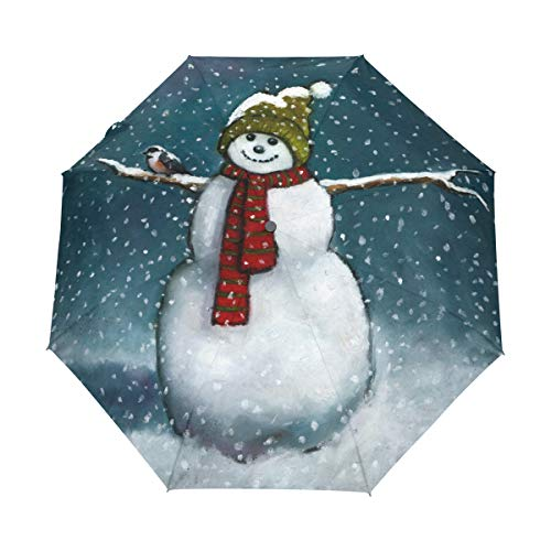 Chickadee Blend - senya Automatic Open Close Umbrella Snowman Chickadee Anti-UV Umbrellas Compact Folding Travel Windproof Protection
