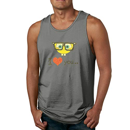 FFashionshirt Casual Men's Tank Top Shirt Printed with I Love Spongebob XXL Deep Heather