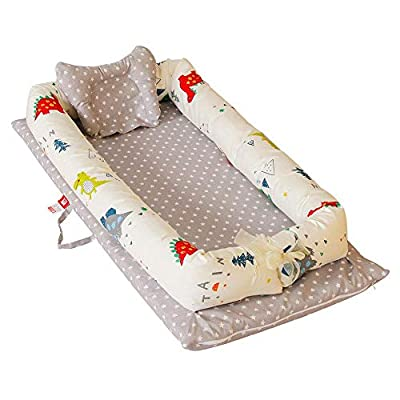 Aolvo Snuggle Nest, Baby Lounger Newborn Lounger Portable Baby Bassinet Newborn Lounger Cover Baby Co-Sleeping Cribs 100% Organic Cotton Breathable and Hypoallergenic for 0-24 Months