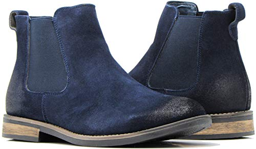 Enzo Romeo BL01 Men's Chelsea Boots Dress Fashion Slip On Suede Leather Ankle Boots (12 D(M) US, Navy Blue)