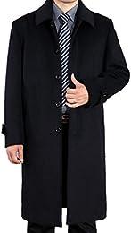 Men Classic Single Breasted Overcoat Long Wool Coat
