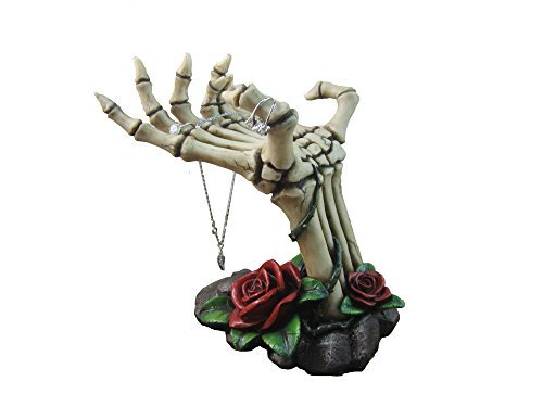 Day of the Dead Skeleton Hand Rose Jewelry Stand By DWK | Necklaces Rings and Earrings Jewelry Display -