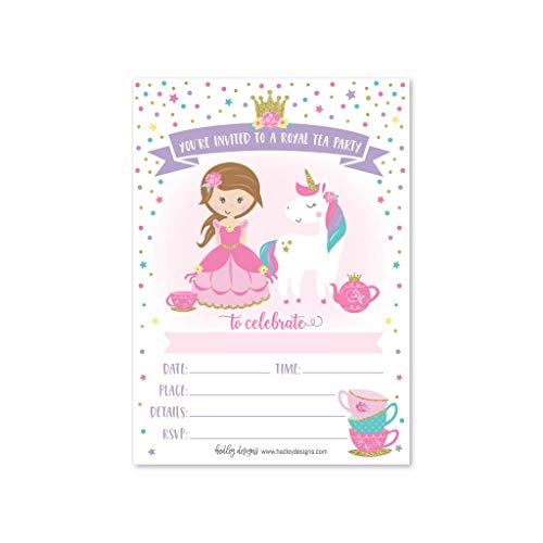 25 Unicorn Tea Party Invitation, Princess Royal Queen Crown Little Girl Birthday Invite, Kid Magical Teacup Themed Bday Supply Idea, Enchanted Tiara Fairytale Sparkle Printed or Fill in The Blank