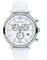 Gigandet Classico Herren-Armbanduhr Chronograph Quarz Analog Lederarmband weiß G6-008