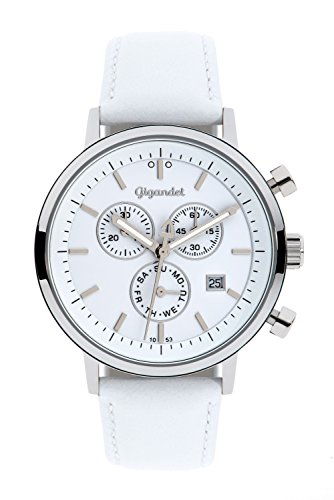 Gigandet Men's/Women's Quartz Watch Classico Chronograph Analog Leather Strap White G6-008