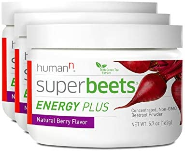 HumanN SuperBeets Energy Plus Superfood Concentrated Non-GMO Beetroot Supplement with Green Tea Extract Natural Berry Flavor, 5.7-Ounce, 3-Pack