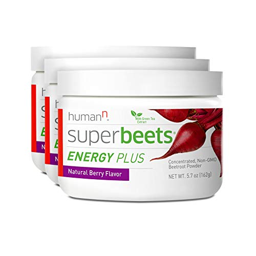 HumanN SuperBeets Energy Plus Superfood Concentrated Non-GMO Beetroot Supplement with Green Tea Extract (Natural Berry Flavor, 5.7-Ounce, 3-Pack)
