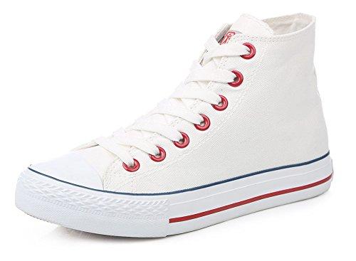 Sfnld Hommes Femmes Printemps Automne Classique Haut Haut Toile Chaussures Sneaker White2