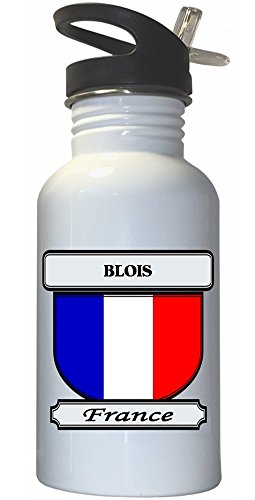 Blois, France City White Stainless Steel Water Bottle Straw Top
