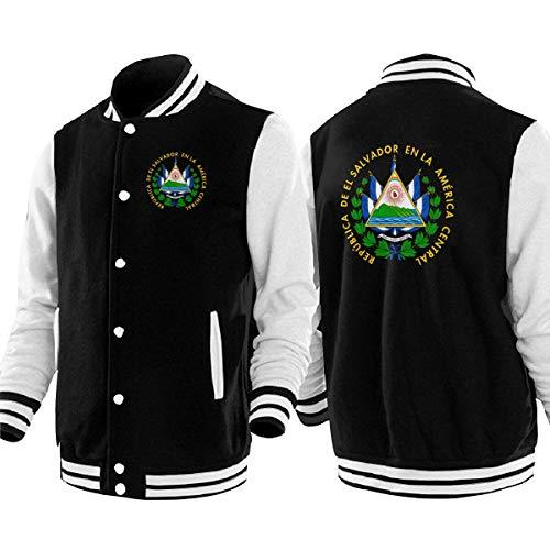 Coat of Arms of El Salvador Mens & Womens Vintage Hoodie Baseball Uniform Jacket Sport Coat