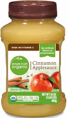 - Simple Truth USDA Organic Cinnamon Applesauce 24 Oz. Bottle (Pack of 2)