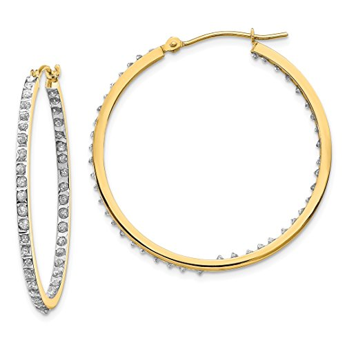 ICE CARATS 14kt Yellow Gold Diamond Fascination Round Hinged Hoop Earrings Ear Hoops Set Fine Jewelry Ideal Gifts For Women Gift Set From (Diamond In & Out Hoop)