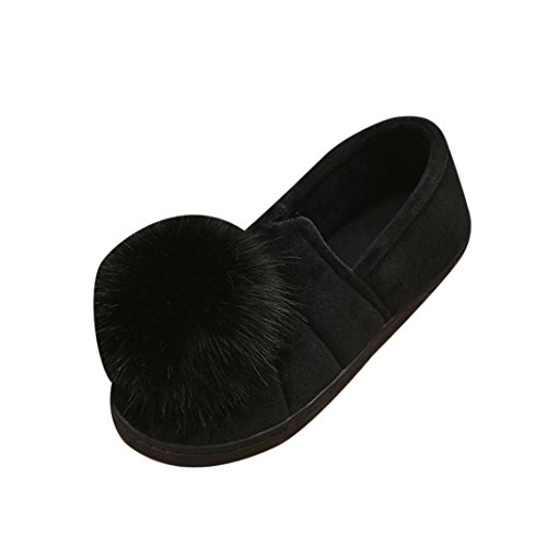 A.M.Feker Women's Winter Indoor Slippers Hairball Anti-Slip Soft Pregnant Women Shoes