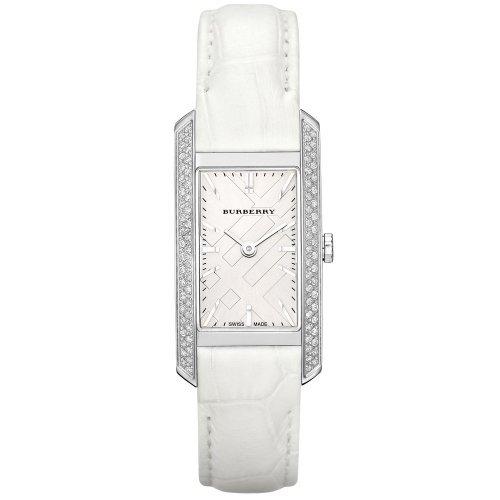 Burberry Women's London Diamond White Alligator Silver Dial Watch BU9506