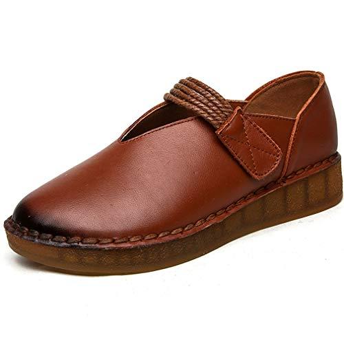 Oxford ons Nuevos De brown Inferior Cuero Parte Yan 37 Zapatos Mocasines 2019 Slip Suave Y Maternidad Para casual Caminar Mujer 8fnqwPRvt