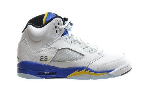 Air Jordan 5 Retro (GS) Big Kids Basketball Shoes White/Varsity Royal-Black 440888-189 (4.5 M US) (Retro Air Black 5 Grape Jordan)