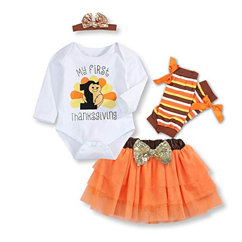 Cute Thanksgiving Outfits For Women (Baby Girl My First Thanksgiving Outfits Sets Cute Letter Romper Orange Short Skirt Bodysuit with Headband Clothes Set (Orange, 70(0-3)