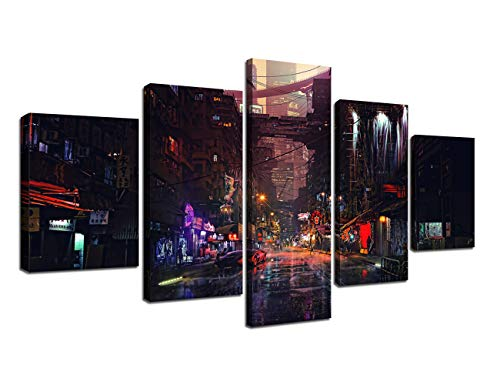 Modern Canvas Wall Art Painting for Living room Prints and Poster Cyberpunk Night Artwork Futuristic City Pictures Bedroom Wall Decoration Stretched and Framed Ready to Hang (60''W x 32''H)
