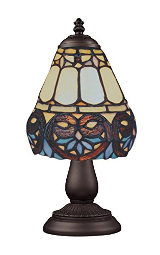 Elk 080-Tb-21 Mix And Match Floral Heart Tiffany Table Lamp, Bronze