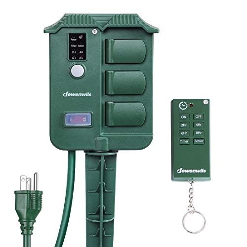 DEWENWILS Outdoor Power Stake Timer with Photocell Light Sensor and Wireless Remote Control, 6 Waterproof Grounded Outlets with Protective Cover, 6ft Extension Cord, Raintight, UL Listed, Green
