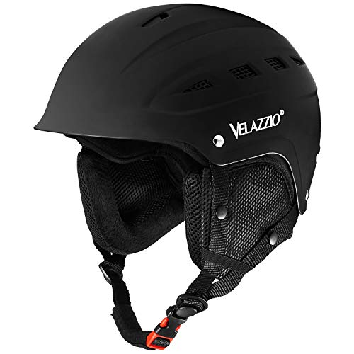 VELAZZIO Valiant Ski Helmet, Snowboard Helmet - Adjustable Venting, Goggles and Audio Compatible, Removable Liner and Ear Pads, Safety-Certified Snow Sports Helmet for Men, Women & Youth (Black - L)
