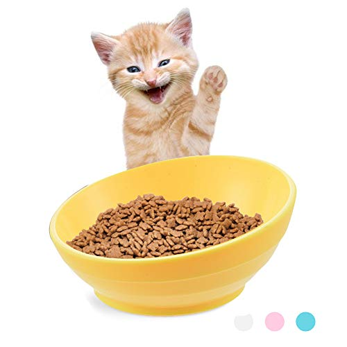 Urijk Slanted Cat Food Dish No Spill, Tilt Bowl Anti Skid Rubber Base Kitty Kitten, Anti Spill Water Bowl Dish Mess Proof Wide Mouth, Pet Cat Feeding Watering Supplies