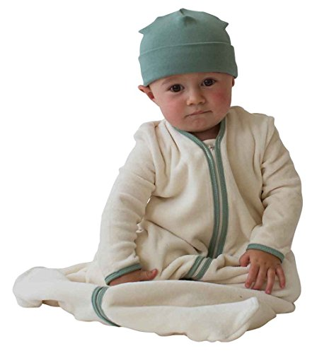 "Organic Long Sleeve Velour Newborn Cozie Sack (M – 6-12 mo. (15-24 lbs.) 26-30"", Natural with Green Trim) by Taraluna"