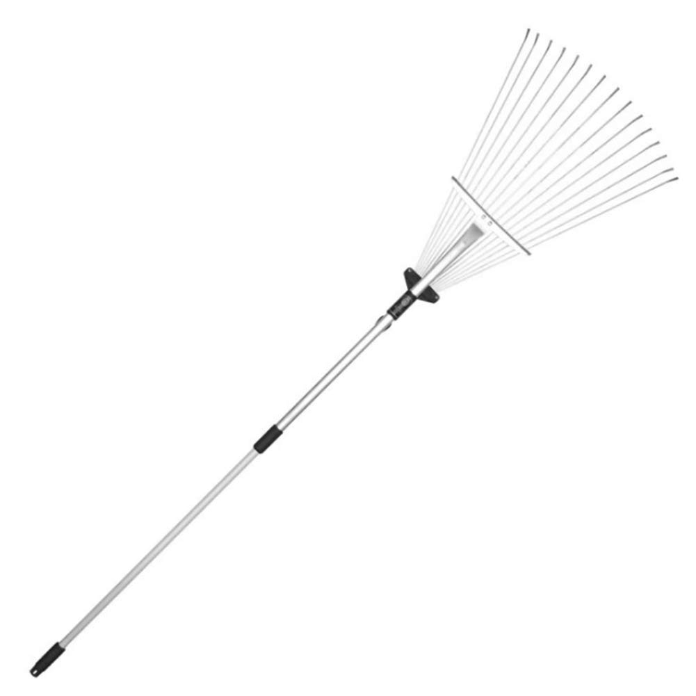 YAOBAO Expanding Metal Rake, Adjustable Folding Head from 7 Inch to 22 Inch Garden Leaf Rake