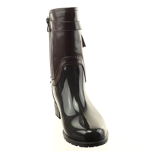 ... Sopily - Scarpe da Moda Stivaletti - Scarponcini Stivali - Scarponi  stivali pioggia donna pelle di ... 5c36f611c51