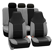 FH Group Universal Fit Full Set High Back Royal Seat Cover - PU Leather (Gray/Black) ( Airbag compatible and Rear Split, Fit Most Car, Truck, Suv, or Van, FH-PU103115)