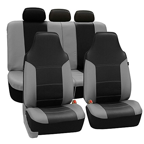 it Full Set High Back Royal Seat Cover - PU Leather (Gray/Black) ( Airbag compatible and Rear Split, Fit Most Car, Truck, Suv, or Van, FH-PU103115) ()